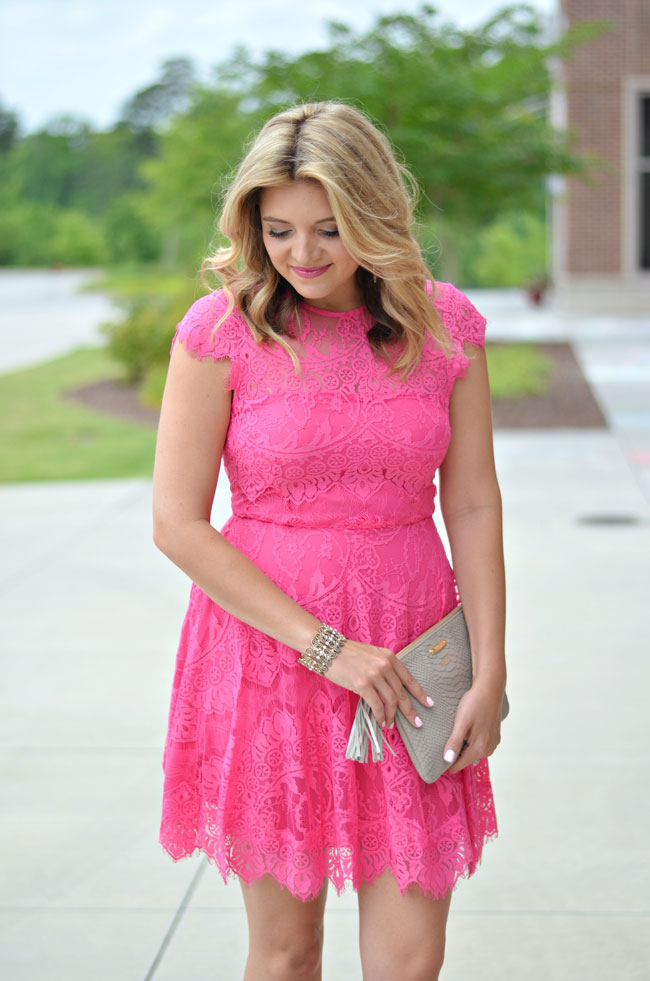 summer wedding guest outfit - pink lace dress | www.fizzandfrosting.com