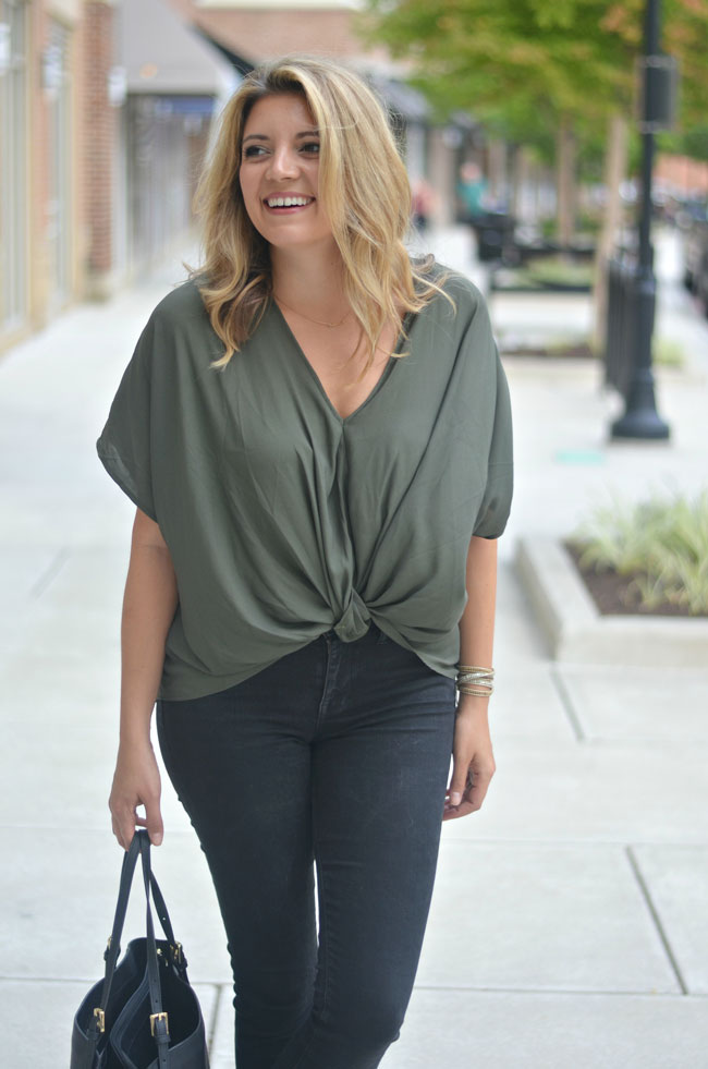olive for fall - twist front top with black denim | www.fizzandfrosting.com