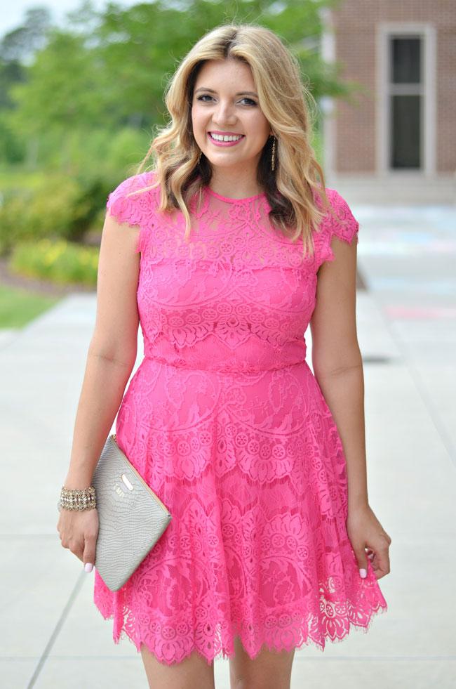 summer wedding guest - bb dakota bright pink lace dress | www.fizzandfrosting.com