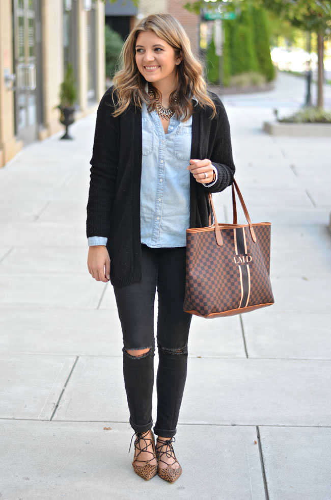 how to wear a long cardigan with a button down   www.fizzandfrosting.com