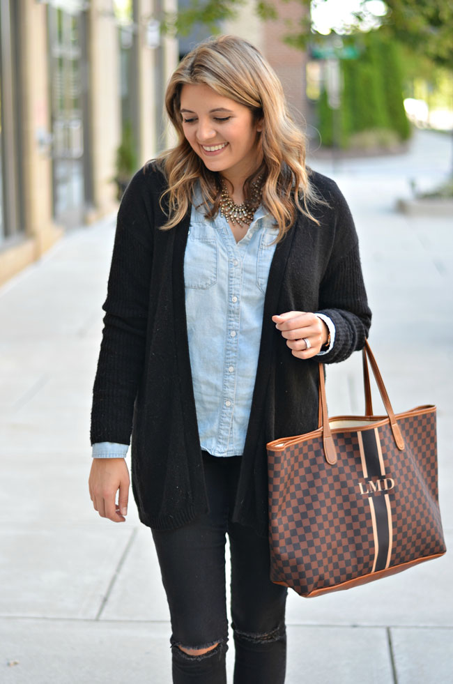 Classic Fall Outfit - chambray with long cardigan   www.fizzandfrosting.com
