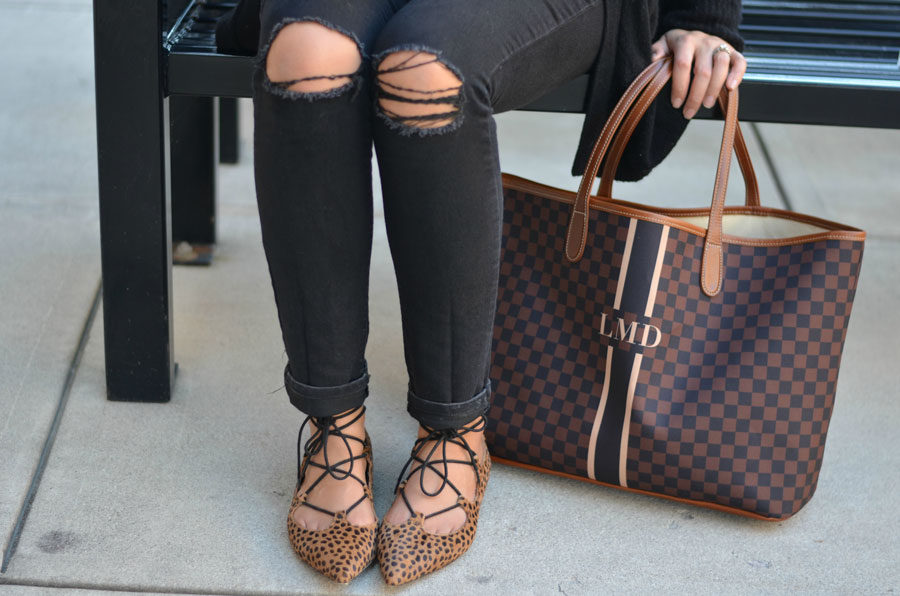 how wear brown and black together - black jeans, cheetah print shoes, brown tote   www.fizzandfrosting.com