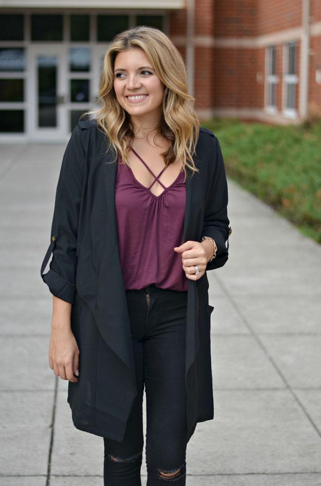 how wear a draped jacket - crisscross burgundy tee with a black jacket | www.fizzandfrosting.com