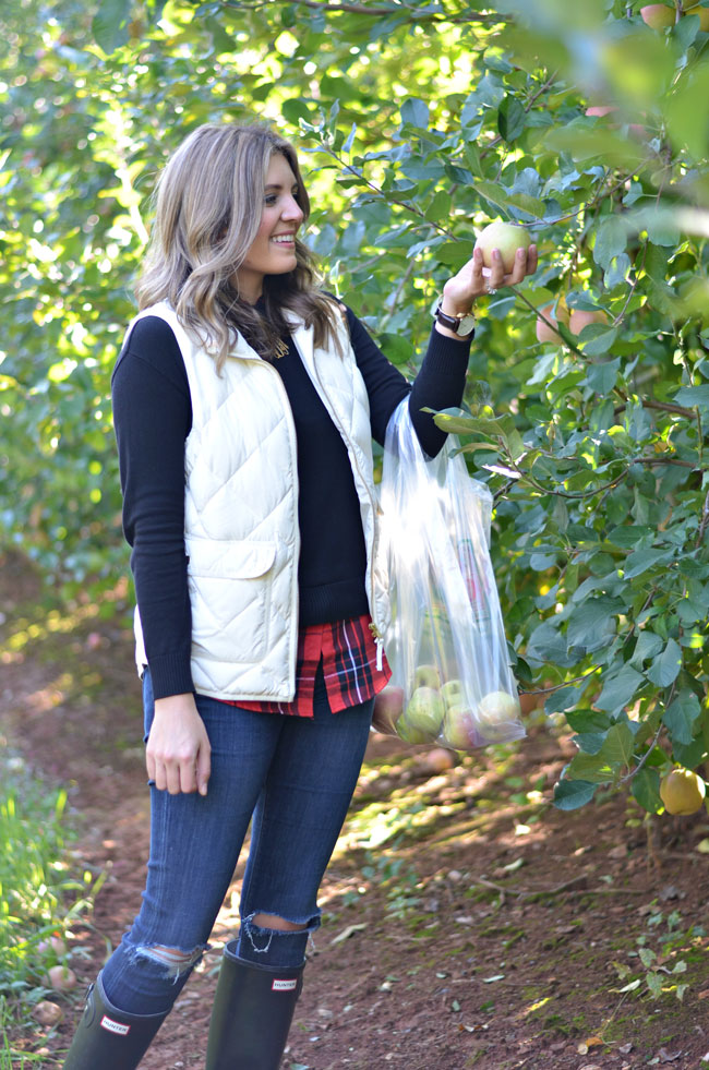 cute apple picking outfit - plaid and a sweater with a jcrew vest | www.fizzandfrosting.com