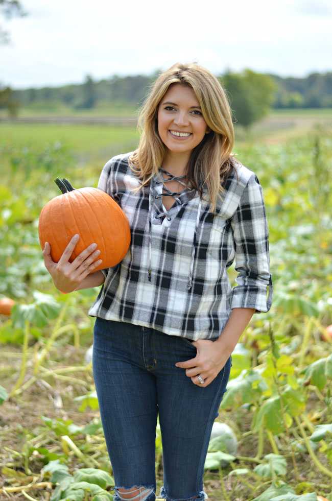 plaid pumpkin patch outfit - lace-up plaid top, jeans, and booties | www.fizzandfrosting.com