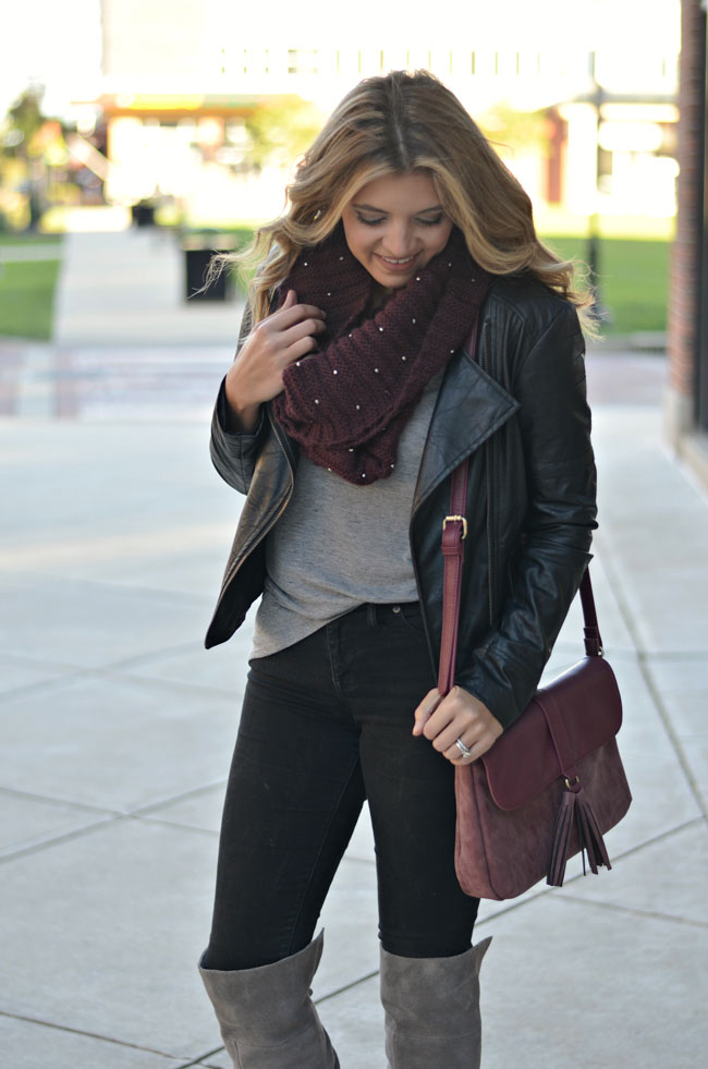 how to wear a moto jacket - black moto jacket with scarf and black jeans   www.fizzandfrosting.com