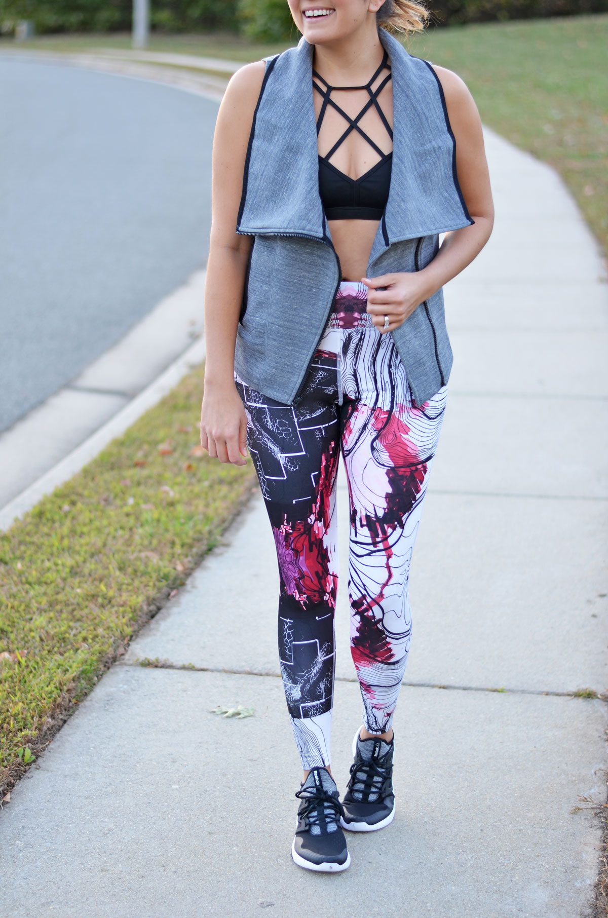 cute workout style - printed workout leggings and a strappy sports bra | www.fizzandfrosting.com