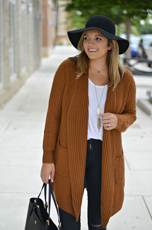 perfect fall outfit - cozy rust cardigan, black jeans, black floppy felt hat | www.fizzandfrosting.com
