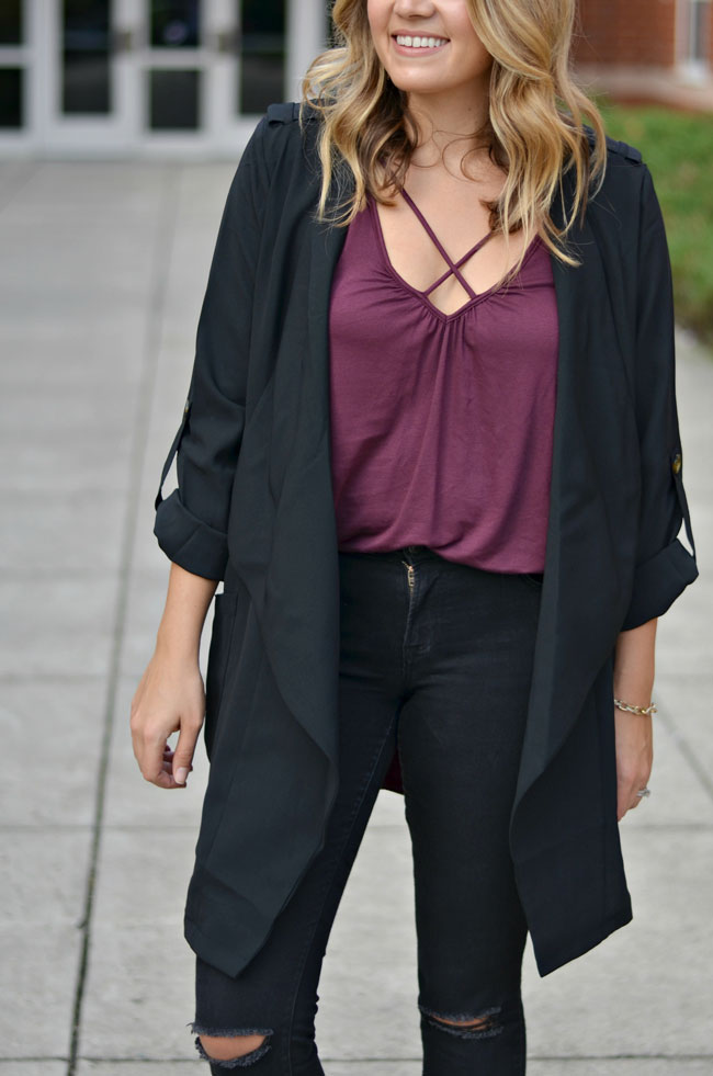 cute fall style - crossover tee with draped jacket and black jeans | www.fizzandfrosting.com