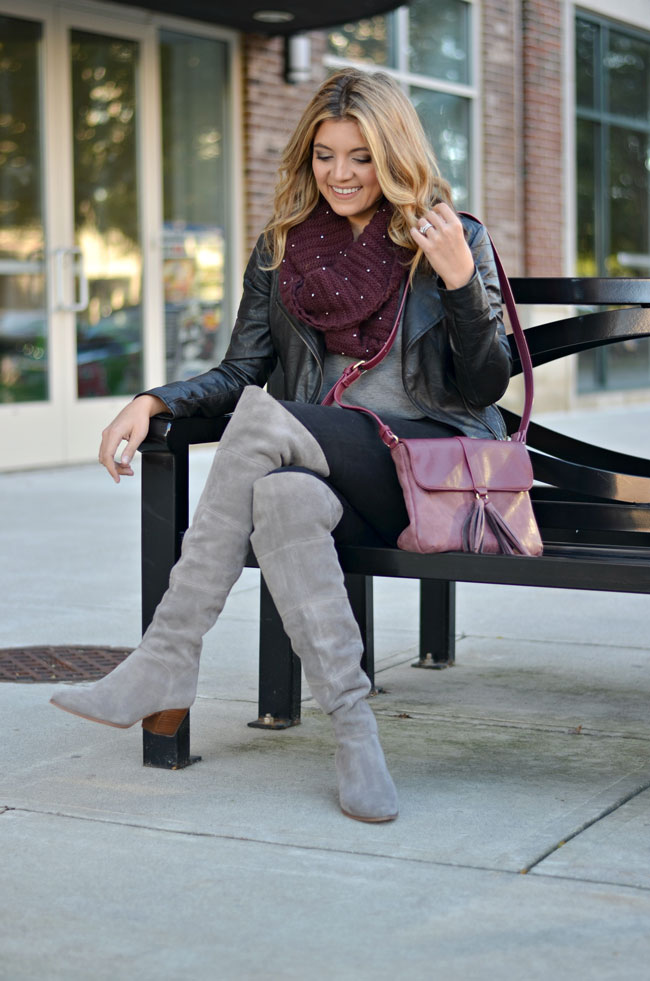 wear over the knee boots with moto jacket - cute fall outfits | www.fizzandfrosting.com