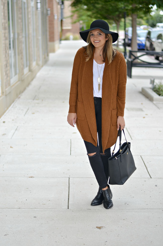 how wear floppy hat for fall - perfect fall outfit - black skinny jeans, oversized rust cardigan, black floppy hat | www.fizzandfrosting.com