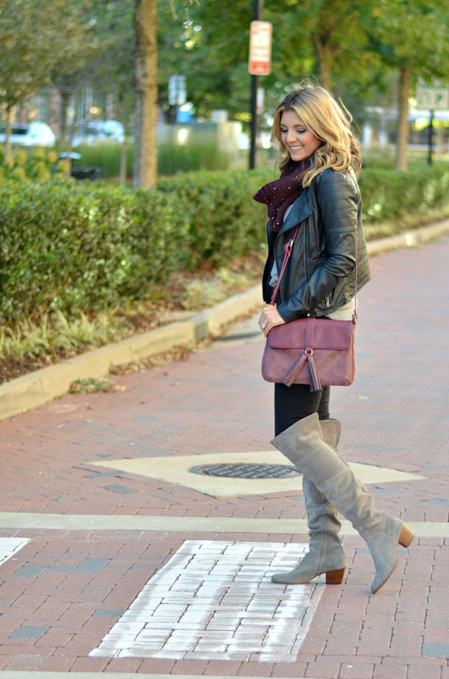 suede over the knee boots outfit - gray over the knee boots with black jeans and a black leather moto jacket | www.fizzandfrosting.com