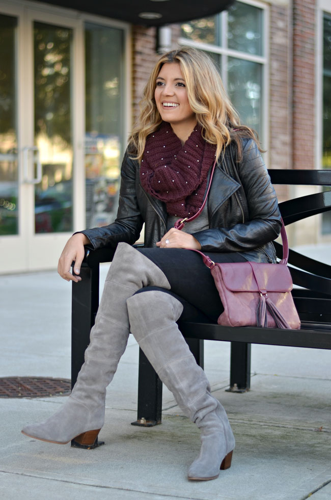 how to wear grey over the knee boots - grey suede over the knee boots, black jeans, black moto jacket | www.fizzandfrosting.com