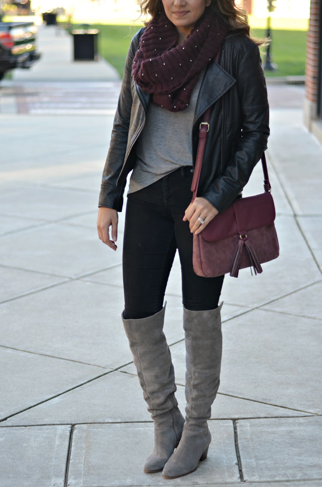 what wear with gray over the knee boots - black jeans with gray over the knee boots and a black leather moto jacket | www.fizzandfrosting.com