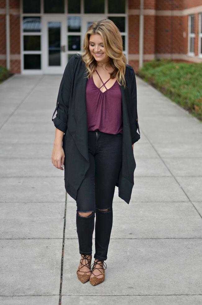 wear long black jacket - crisscross tee with draped jacket | www.fizzandfrosting.com