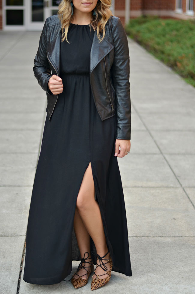how to wear a maxi dress for fall - black maxi dress with a black leather moto jacket and cheetah lace up flats | www.fizzandfrosting.com