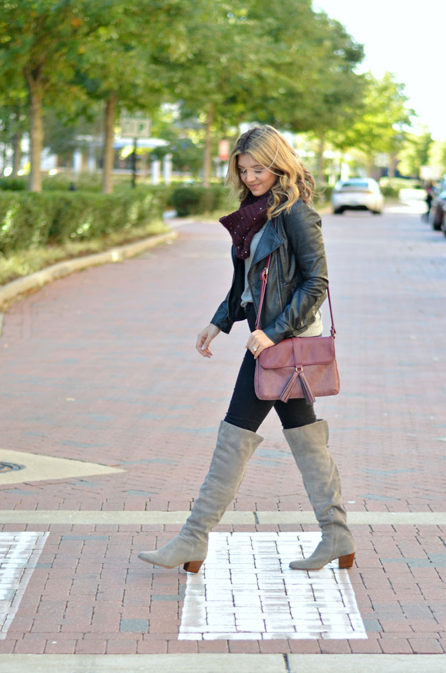 gray over the knee boots outfit - leather moto jacket, burgundy scarf, black jeans, gray over the knee boots | www.fizzandfrosting.com