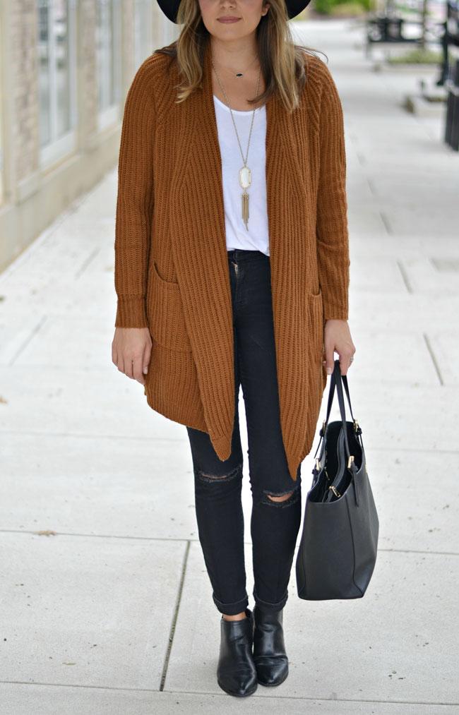 oversized rust cardigan, black jeans, flat black booties, floppy fall hat | www.fizzandfrosting.com