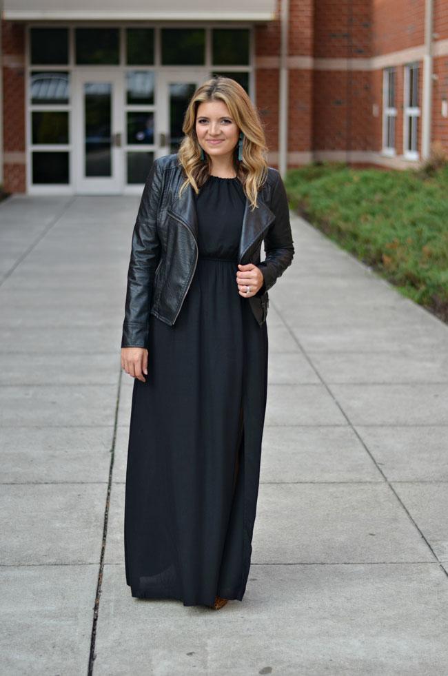 maxi dress with leather jacket - black maxi dress with black leather moto jacket for fall | www.fizzandfrosting.com