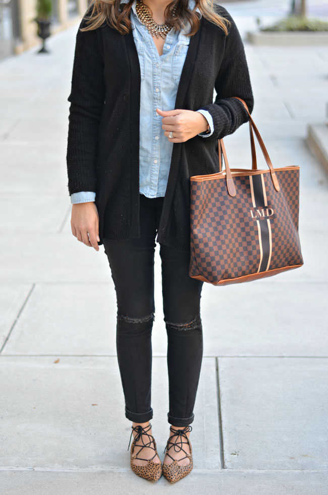 Preppy Fall outfit - chambray button down, black jeans, long black cardigan | www.fizzandfrosting.com