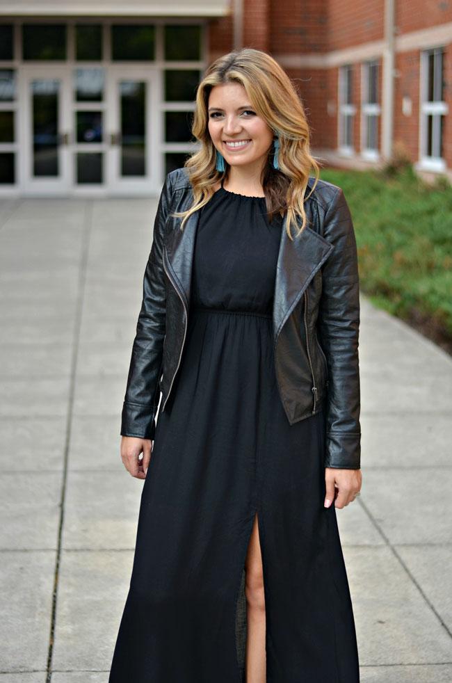 maxi dress with a leather jacket | www.fizzandfrosting.com