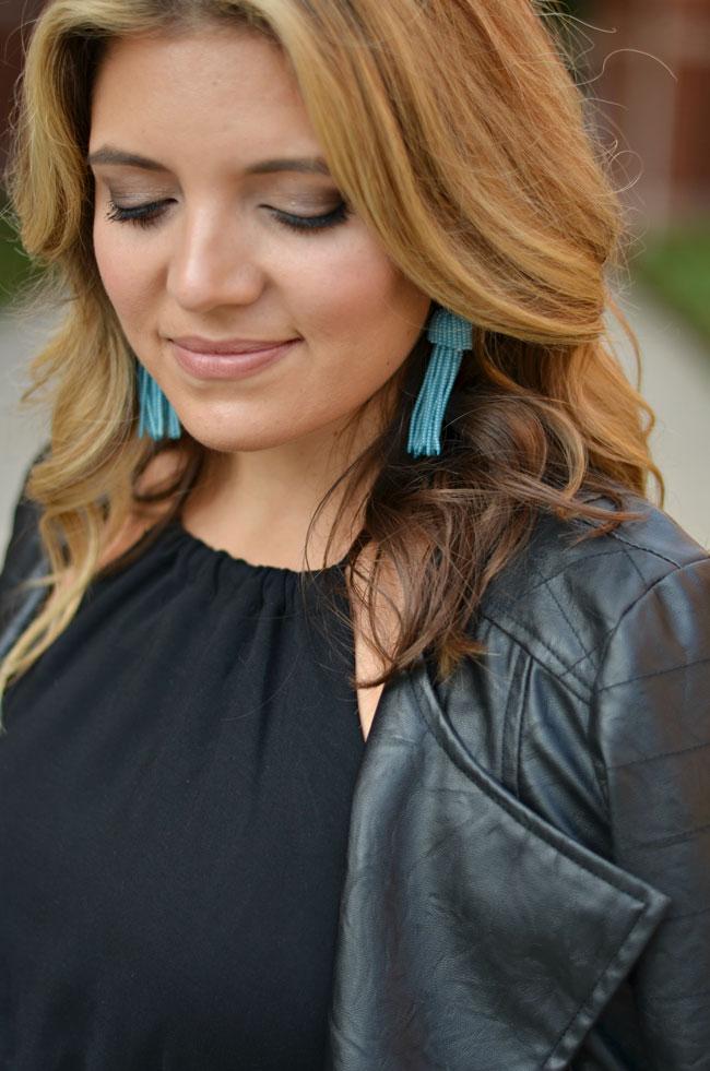 aqua lisi lerch tassel earrings with black leather moto jacket | www.fizzandfrosting.com