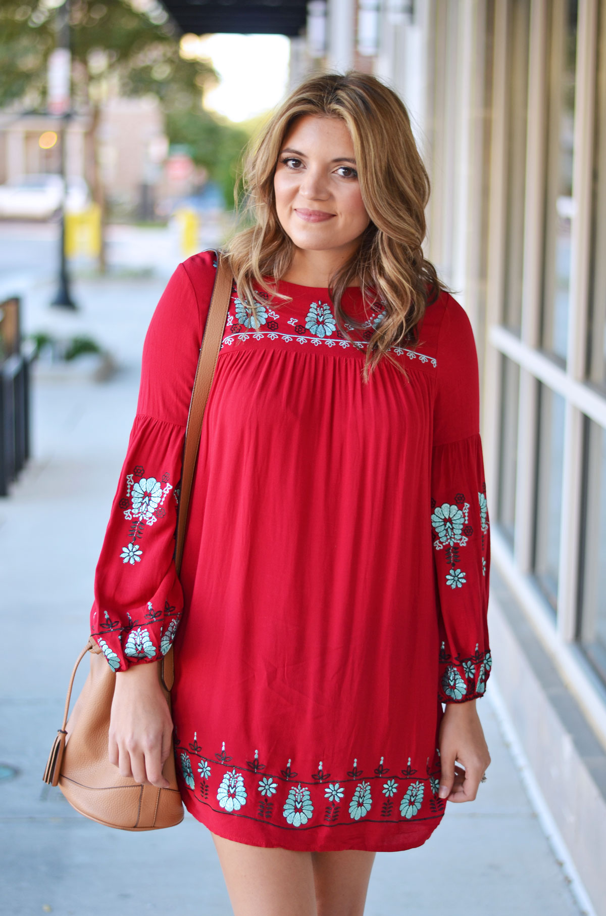 cute fall outfit - red embroidered mini dress with nude bucket bag | www.fizzandfrosting.com