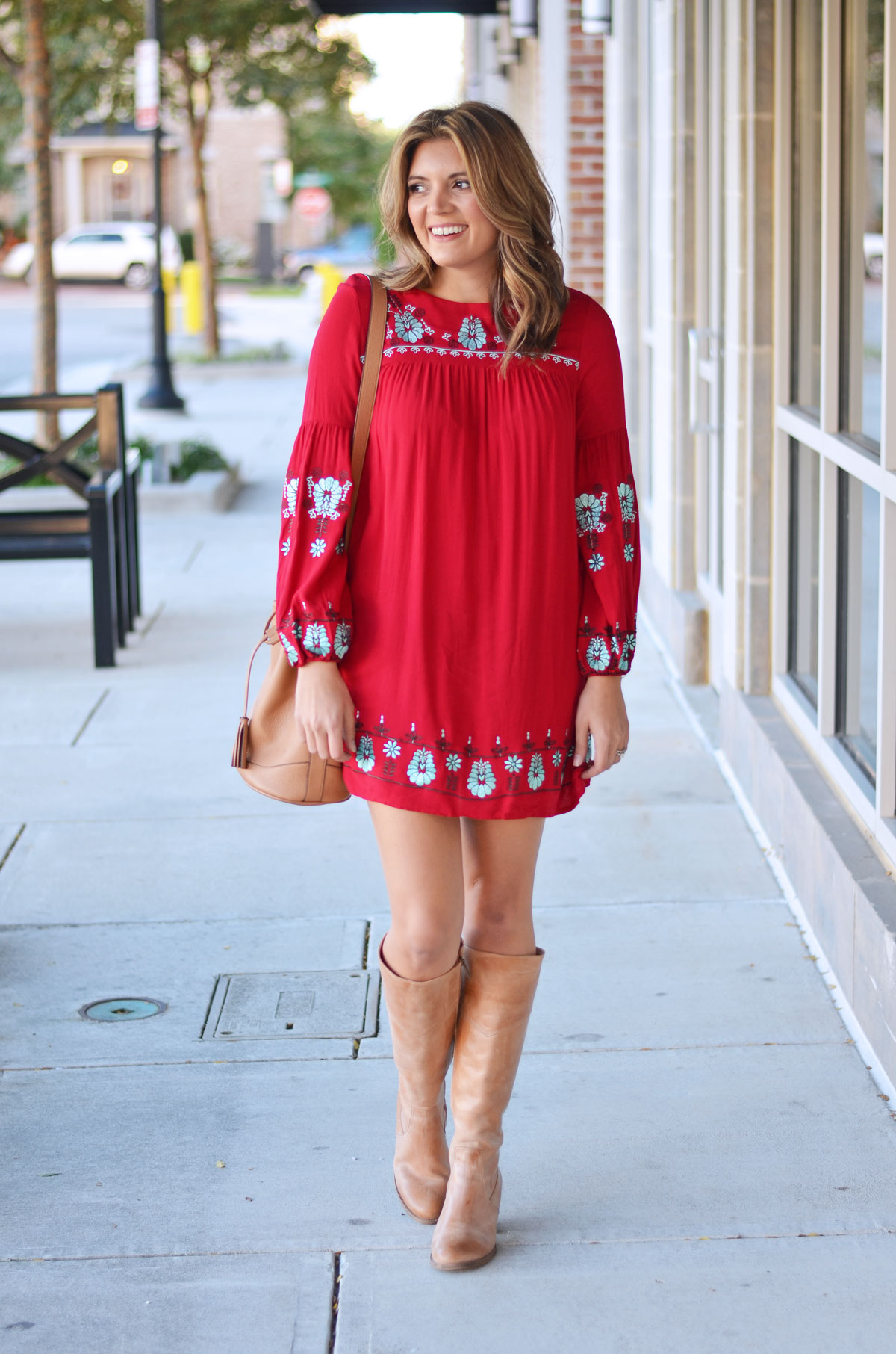 red embroidered mini dress with nude heeled boots | www.fizzandfrosting.com