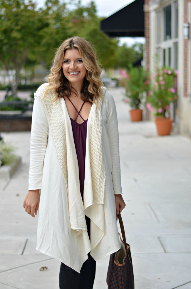 how to wear a long sweater jacket - long draped cardigan with criss-cross tee | www.fizzandfrosting.com