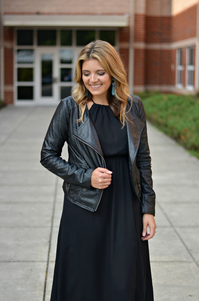 maxi dress for fall - maxi dress with leather jacket | www.fizzandfrosting.com