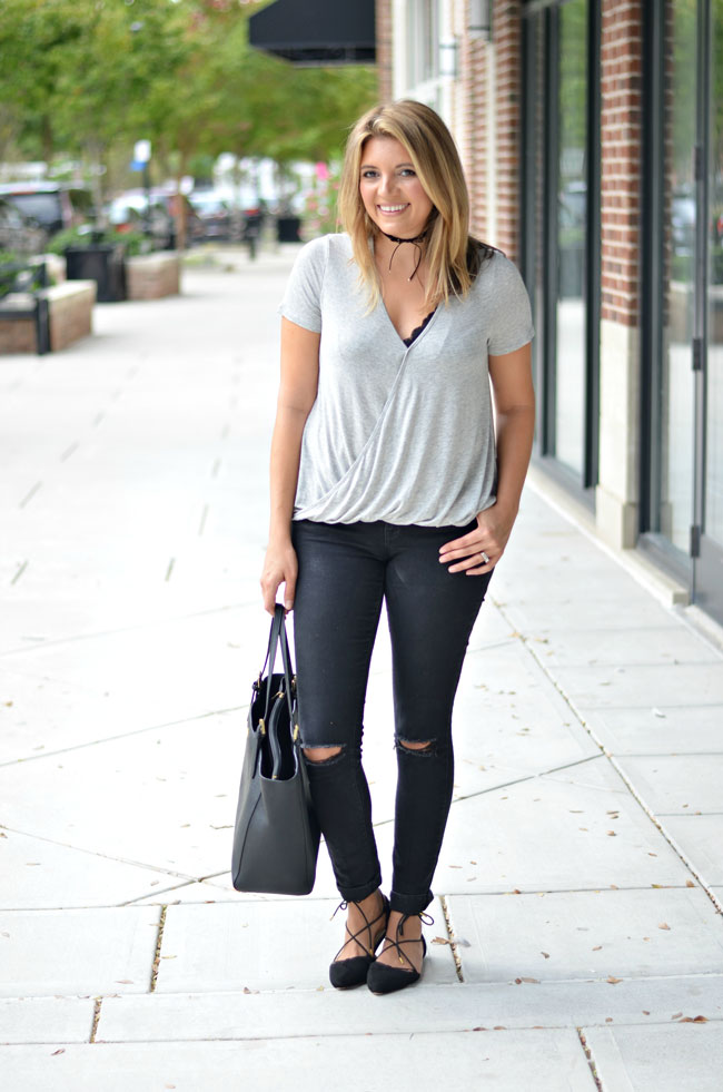 black lace bralette with gray wrap tee, ripped black jeans, black bow choker | www.fizzandfrosting.com